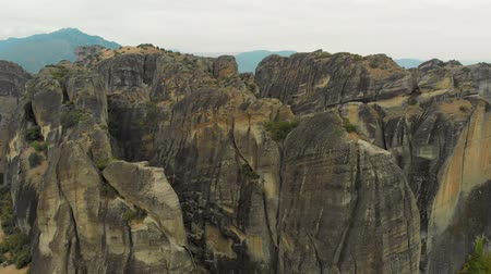 boulders : Impressive aerial panoramic view of the famous beautiful Meteora valley