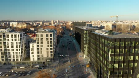 Литва : Aerial view of modern city street in Vilnius during autumn season