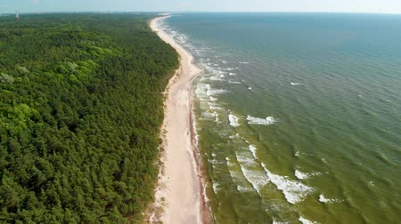klaipeda : Aerial view of the Dutchmans Cap, the highest scarp at Lithuanian seaside Stock Footage