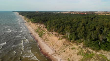 klaipeda : Aerial view of a paraglider flying over the Dutchmans Cap, Lithuania