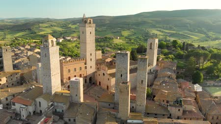 Aerial view of San Gimignano and its medieval old town with the famous towers