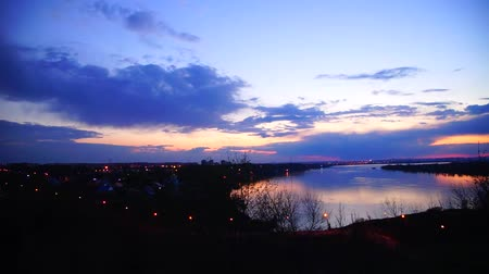 volga region : Sunset in the town of Kstovo in Nizhny Novgorod region on the Volga river
