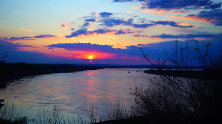 volga region : Sunset on the Volga river
