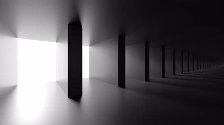 universe inside : Dark Columns Tunnel. Cosmic Station Animation. Abstract Futuristic Hallway