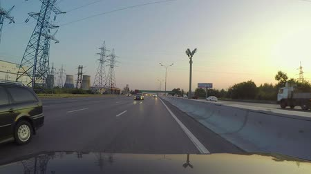diminishing : The car rides on the highway. Rear view Stock Footage