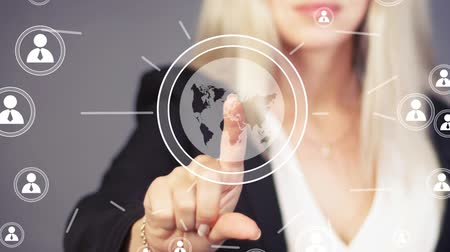 collaboration : Businesswoman touch button interface map online icon Stock Footage
