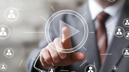 interaktif : Business button play sign connection communication icon Stok Video