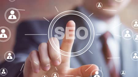 цифровой : Business button online SEO communication sign