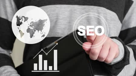 seo : Business button web SEO communication icon Stock Footage