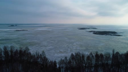 arquipélago : Aeral drone footage. Flight over trees foreground on frozen lake