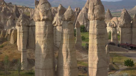 anatolia : 4K footage. Rocks in love valley. Close up. Handheld camera