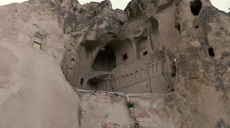 anatolia : 4K footage. Church in the rock of City in the rocks. Handheld camera