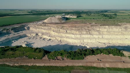 pedreira : 4K drone aerial footage. Fly over a mountain stone quarry. Dolly shot Stock Footage