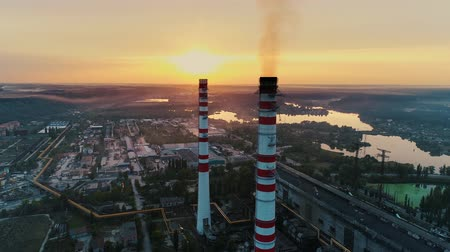 coal fired : Aerial drone footage. Coal fire power station at sunset.