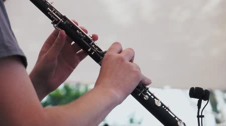 insan parmak : Slow motion. Musician plays the clarinet at a music festival Stok Video