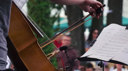 cselló : Musician plays the cello on festival Stock mozgókép