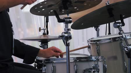 jazz festival : Slow motion shot of a musician performing on drums on festival Stock Footage