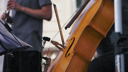 cellist : Slow motion. Cellist playing at a jazz concert Stock Footage