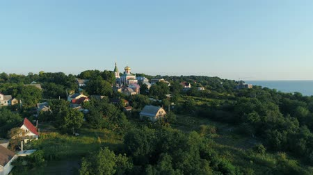 romanesk : Aerial view Church in small town.
