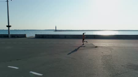 townsman : Aerial shot. Man is running in morning time in embankment of sea town.