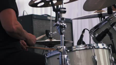 cymbals : Slow motion shot of a musician performing on drums on festival Stock Footage