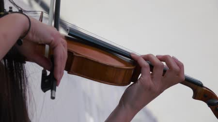 hegedűművész : Violin close-up shot. The violinist playing on festival Stock mozgókép