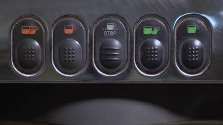 grãos de café : Coffee machine button panel. Barista press button.