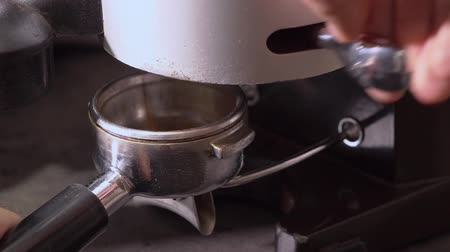 grãos de café : Loading fresh coffee from coffee grinding machine