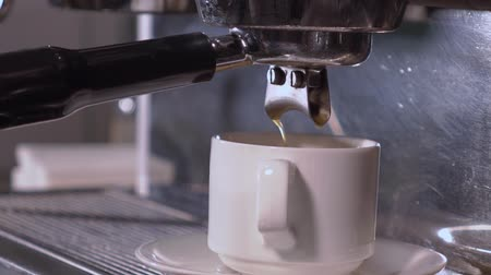 бежевый : Coffee machine making double espresso Стоковые видеозаписи