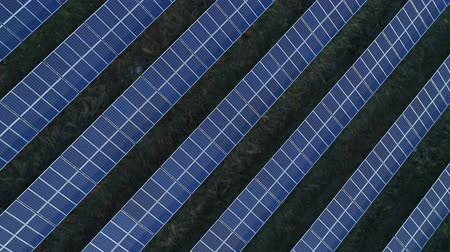 solar power : Aerial drone footage. Flight over solar panel farm top down view at sunset. Stock Footage