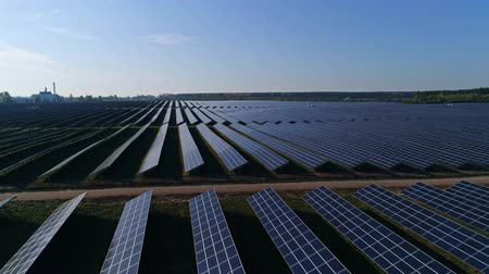 global iş : Aerial drone footage. Flight forward over solar panel farm. Renewable green alternative energy
