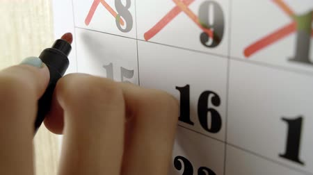 excluir : Female hand crosses with red marker the calendar day 15. Slow motion shot. Close up Stock Footage