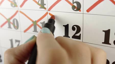 hónapokban : Female hand crosses with red marker the calendar day 12. Slow motion shot. Close up