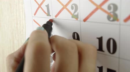 hónapokban : Female hand crosses with red marker the calendar day 8. Slow motion shot. Close up