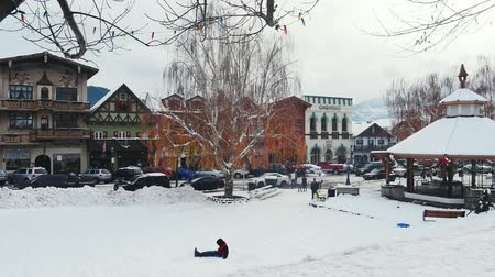 pan over form a street to a bunch of kids playing in the snow with sleds
