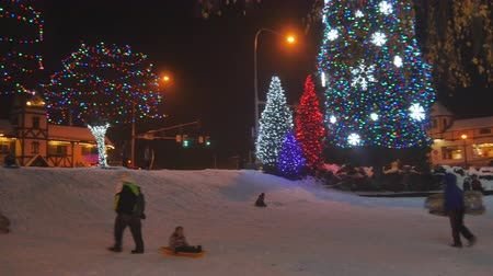 a bunch of kids playing in the snow on sleds in a beautifully lit christmas town center