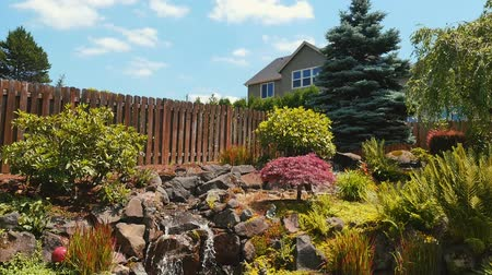 purchasing : beautiful suburban landscaped waterfall on a sunny day, pan down Stock Footage