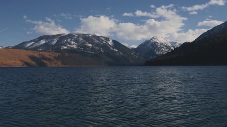 Looped video of mountain lake backdrop