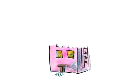 épít : apartment  house watercolor drawing isolated on white background video