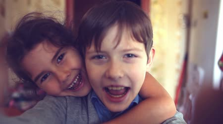 сестра : boy girl  hugging shout brother self and sister happiness
