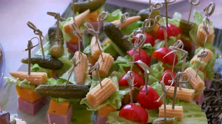 reception : Tomatoes table snack tasty meal beautiful holiday Stock Footage