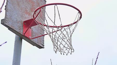 abroncs : Action shot of basketball going through basketball hoop and net