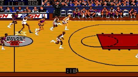 bulls balls : URYUPINSK. RUSSIA - APRIL 7, 2016: Gameplay game console Sega Genesis Bulls vs Blazers and the NBA Playoffs - sport basketball match retro console games on April 7 2016 in Urupinsk, Russia