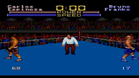 muhammad ali : URYUPINSK. RUSSIA - JANUARY 22, 2017: Gameplay game console Sega Genesis muhammad ali heavyweight boxing - retro console games on January 22 2017 in Urupinsk, Russia Stock Footage