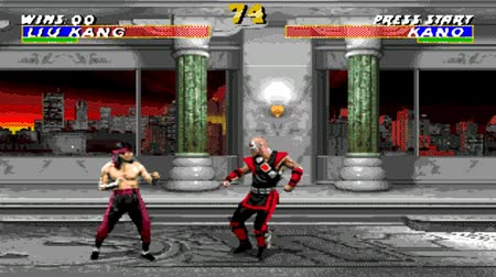 mortal : URYUPINSK. RUSSIA - JANUARY 22, 2017: Gameplay game console Sega Genesis mortal kombat 3 - retro console games on January 22 2017 in Urupinsk, Russia