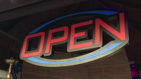 signboard shop signboard open. luminous signboard store open slow motion video