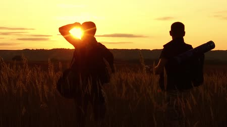 two tourists silhouettes. two tourists at sunset are standing in the field watching cards in the smartphone. tourists drink water silhouette from nature a plastic bottle slow motion video