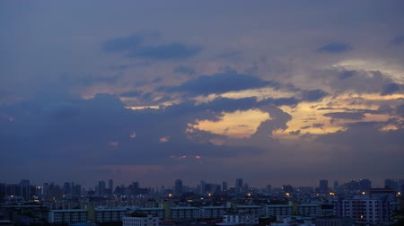 Panorama view of City Sunset twilight time lapse Стоковые видеозаписи
