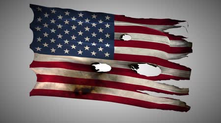valente : America ,United states,USA,US, bullet perforated, burned, grunge standard flag waving on a wind with alpha loop seamless