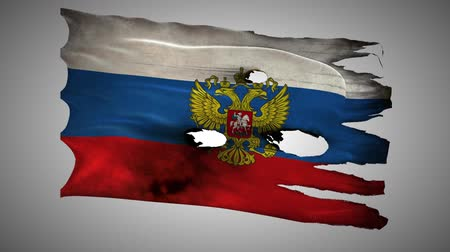 valiant : Russian Federation, RU, RUS bullet perforated, burned, grunge standard flag coat of arms waving on a wind with alpha loop seamless Stock Footage